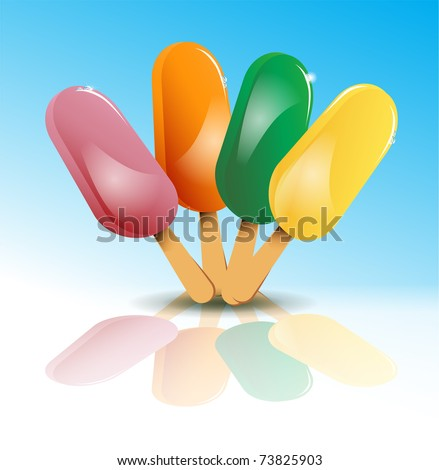 vector of poles of ice cream of several flavors
