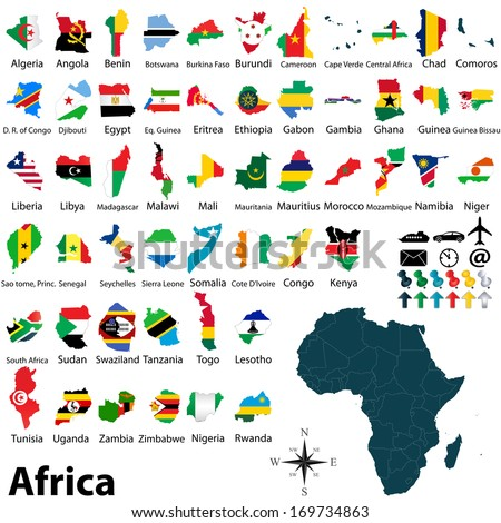 Vector of political map of Africa set with maps and flags on white background