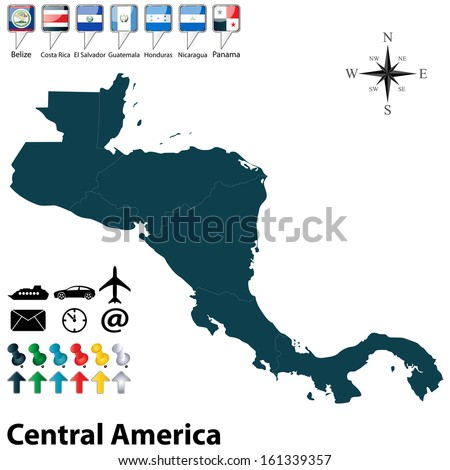 Shutterstock Vector of political map of Central America set with buttons flags on white background