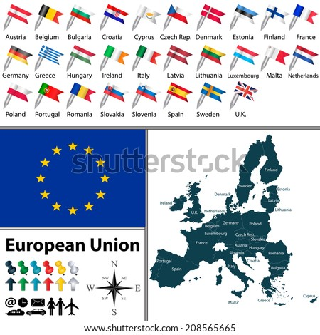 Vector of political map of European Union set with maps and flags on white background