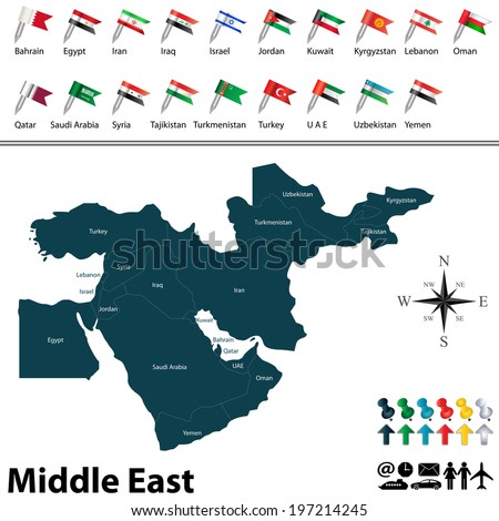 Vector of political map of Middle East set with buttons flags on white background