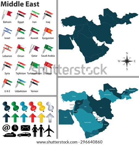 Vector of political map of Middle East set with flags on white background