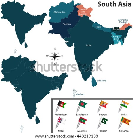 asian subcontinent map