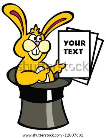 vector of rabbit in magic hat with pages for your message or text - stock vector