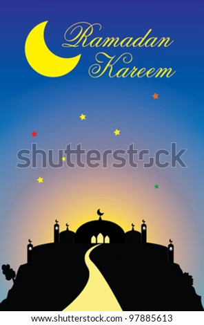 Vector of ramadan greeting with mosque on a hill isolated blue sky