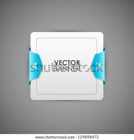 Vector of rectangular banner with blue frame
