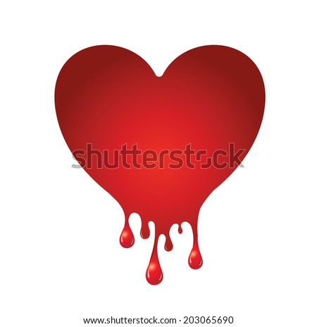 Vector of Red heart bleeding for background