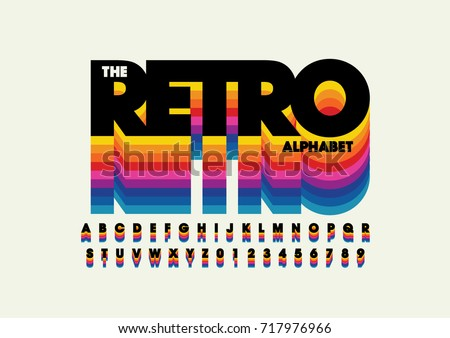Vector of retro bold font and alphabet - Shutterstock ID 717976966