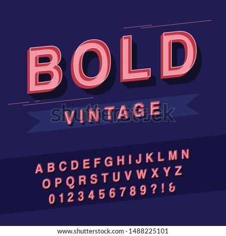 Vector of retro bold font and alphabet - Linear letters and numbers vintage vector