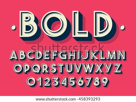 Vector of retro font and alphabet - Shutterstock ID 458393293