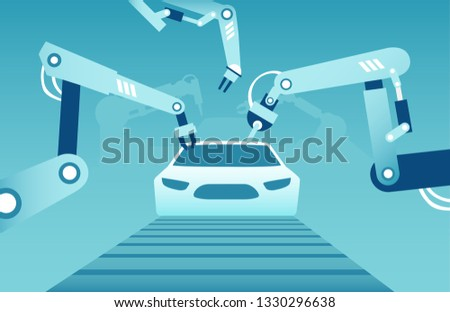 Vector of robotic arms assembling a modern car. Industrial assembly line concept