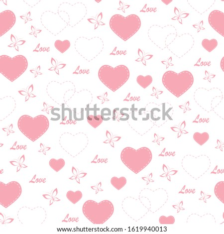 Vector of seamless pattern with hearts and white background.