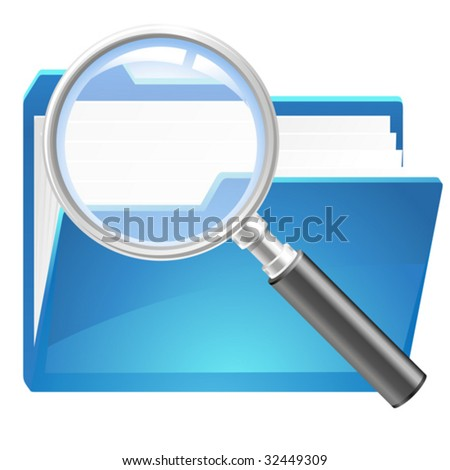 vector of search in folder icon