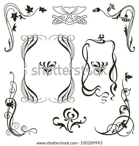 Vector of set of vintage design elements for frames