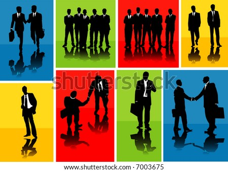 Vector of several business silhouettes