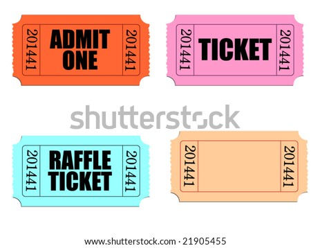 Vector of several tickets with perforated edges. Customize blank ticket.