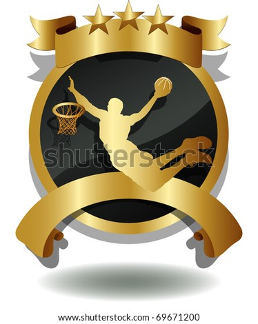 vector of shield of basketball player's silhouette