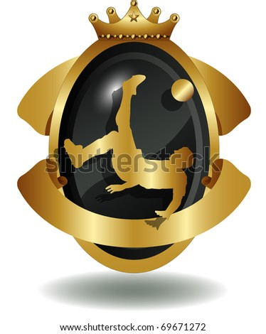 vector of shield of soccer player's silhouette