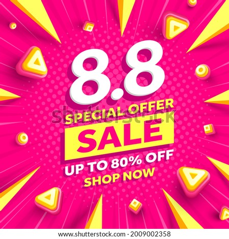 Vector of 8.8 Shopping day Poster or banner.8 August sales banner template design for social media and website.Special Offer Sale 80% Off campaign or promotion.vector illustration.