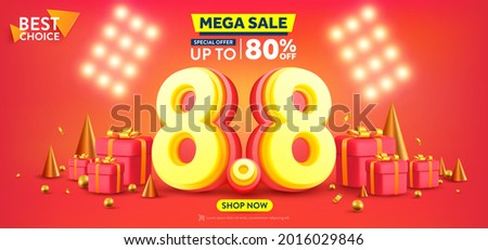 Vector of 8.8 Shopping day Poster or banner with 8 and gift box on red background.8 August sales banner template design for social media and website.Special Offer Sale 80% Off campaign or promotion.