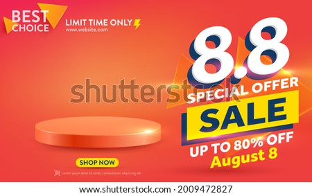 Vector of 8.8 Shopping day Poster or banner with blank product podium scene.8 August sales banner template design for social media and website.Special Offer Sale 80% Off campaign or promotion.