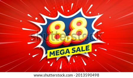 Vector of 8.8 Shopping day Poster or banner with 8 on pop art comic speech bubble.8 August sales banner template design for social media and website.Special