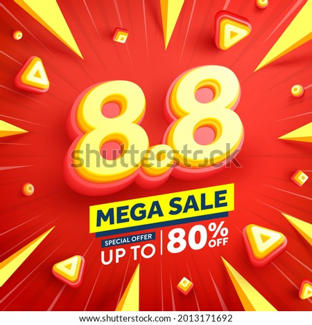 Vector of 8.8 Shopping day Poster or banner with 8 on red background.8 August sales banner template design for social media and website.Special Offer Sale 80% Off campaign or promotion.