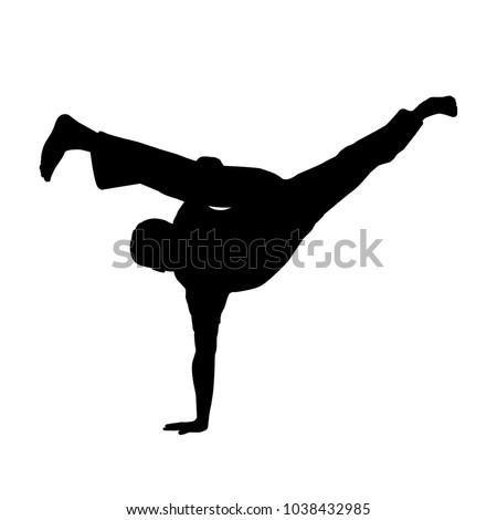 vector of silhouette capoeira au batido or L kick in breakdance Foto stock ©