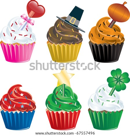 Vector of six different Holiday Cupcakes. Christmas, Halloween, Thanksgiving, Valentines Day , Independence Day and St. Patricks Day.