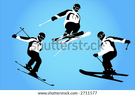 Vector of skiers in the air