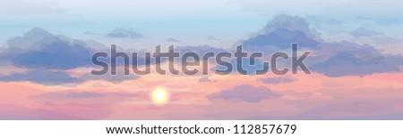 Vector of sky background, sunrise or sunset.