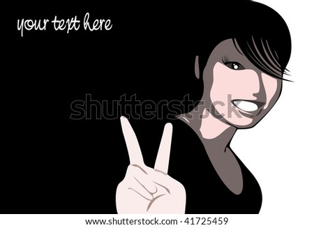vector of smiling chinese girl