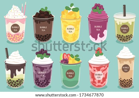 Vector of smoothies There are various types of tea Pearl milk tea, green tea, matcha milk, cocoa brownies and fruit, consisting of mixed fruit flavors, blueberry whipped, mango,Fresh strawberries.