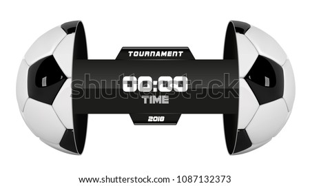 Vector of soccer league with team competition and scoreboard isolated on white background. Football White Banner With 3d Ball and Scoreboard. Soccer game match. Half football ball.