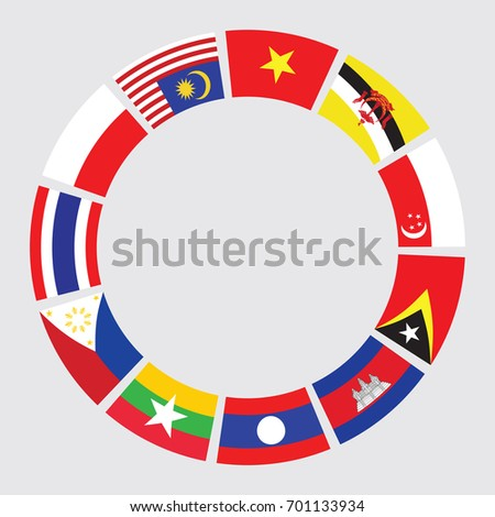 vector of South east asia flag in circle form