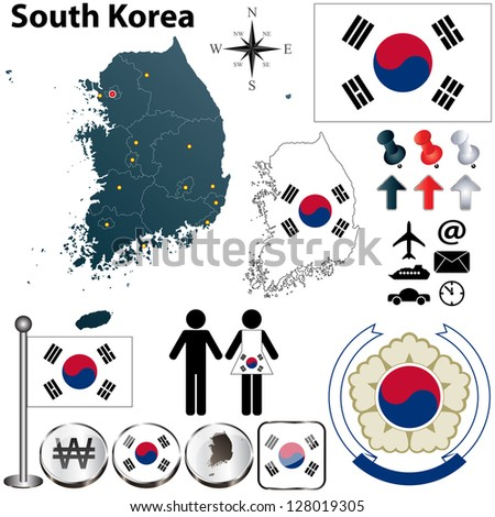 Vector of South Korea set with detailed country shape with region borders, flags and icons