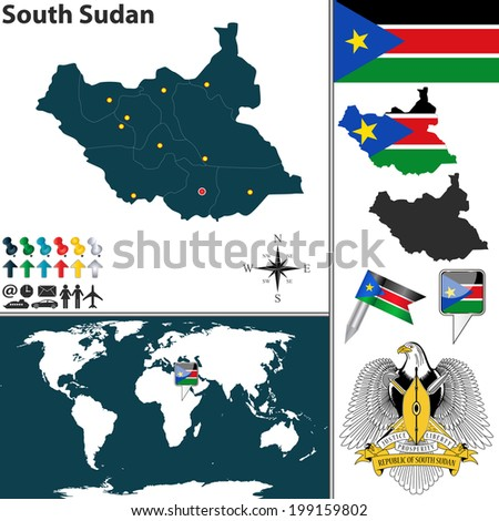 Vector of South Sudan set with detailed country shape with region, coat of arms, flags and icons