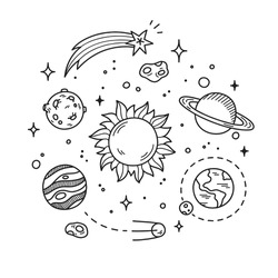 vector of space with planets stars orbit around sun
