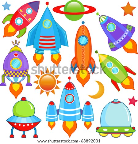 Vector of spaceship, Spacecraft, Rocket, UFO. A set of cute and colorful icon collection isolated on white background