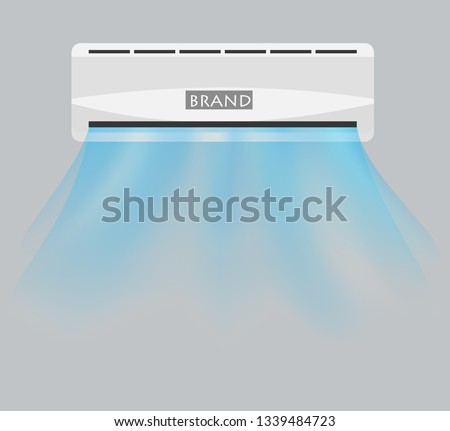 vector of split ac and it's fresh waving cold hygienic air with grey background