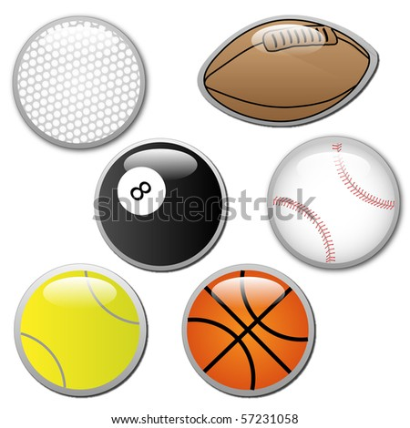 Vector of sports ball buttons