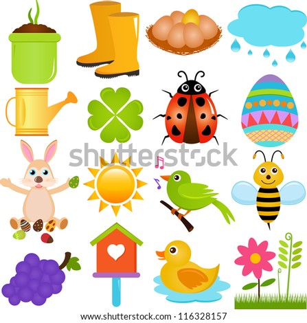 Vector of Spring season theme - plant, boots, egg, rain, ladybug, Easter rabbit, bird, bee, flowers, sun. A set of cute and colorful icon collection isolated on white background