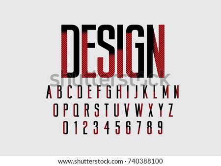 Vector of stylized bold font and alphabet