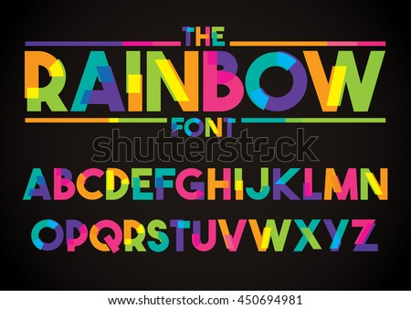 Shutterstock Vector of stylized colorful font and alphabet