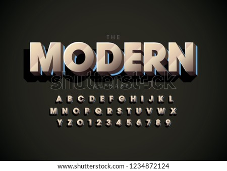 Vector of stylized modern font and alphabet #1234872124