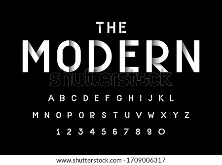 Vector of stylized modern font and alphabet set