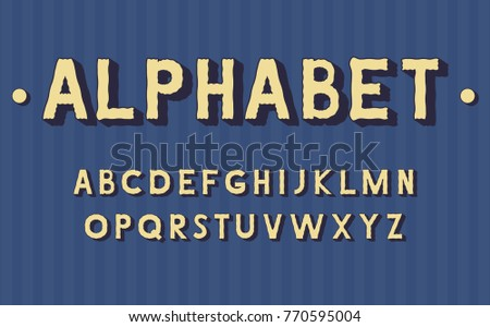 Vector of stylized retro bold font and alphabet
