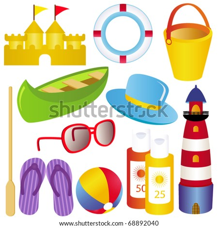 Vector of Summer, sand castle, boat, lighthouse, sunblock, sandals for beach holiday. A set of cute and colorful icon collection isolated on white background