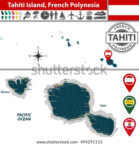vector of tahiti island in