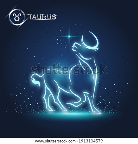 vector of taurus horoscope sign in twelve zodiac with galaxy stars background, vector of polygon bull